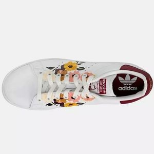 adidas Stan Smith Floral Lace Up Womens Sneakers 8